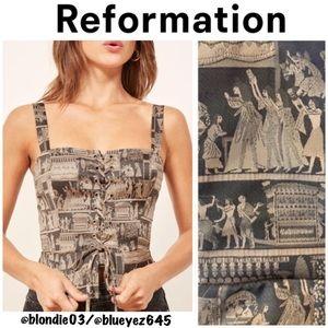"Reformation ""Floyd"" corset top in pharaoh 8"